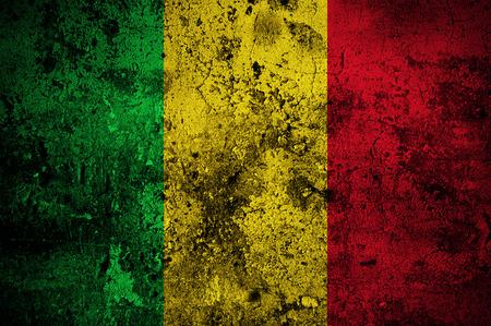 bamako: grunge flag of Mali with capital in Bamako Stock Photo