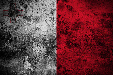 disintegrate: grunge flag of Malta with capital in Valletta Stock Photo