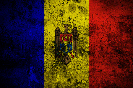 disintegrate: grunge flag of Moldova with capital in Chisinau