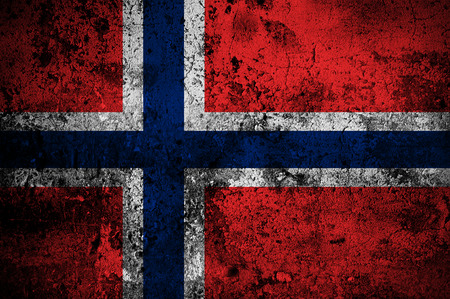 grunge flag of Norway with capital in Oslo photo