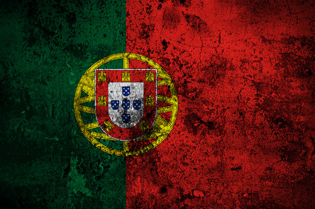 grunge flag of Portugal with capital in Lisbon photo