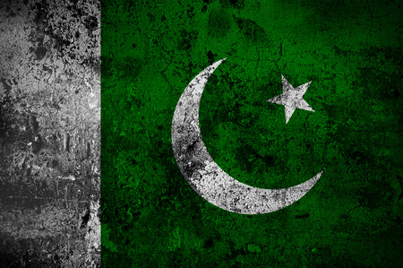 disintegrate: grunge flag of Pakistan with capital in Islamabad Stock Photo