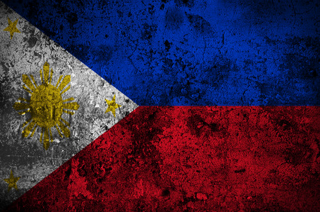 manila: grunge flag of The Philippines with capital in Manila