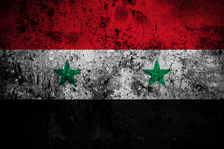 grunge flag of Syria with capital in Damascus photo