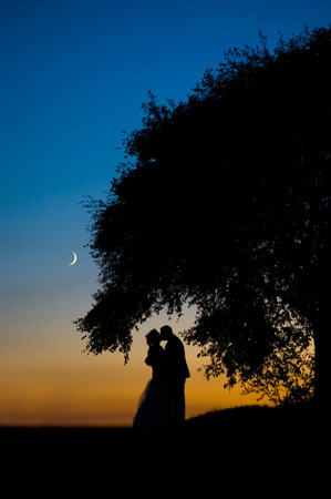 back lit: Romantic couple on sunset under the tree