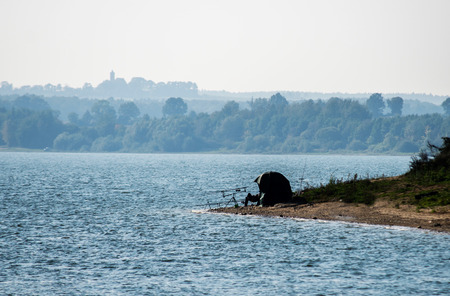 overnight stay: Fishing with an overnight stay at the lake Stock Photo