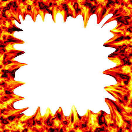 fire surround: Fire burn on white background with copy space
