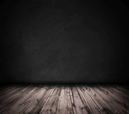 Black wall and wooden floor interior background