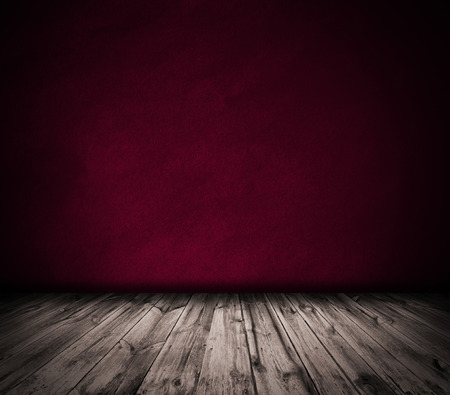 Red wall and wooden floor interior background Stock Photo