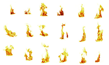 firestorm: flame compilation on white background Stock Photo