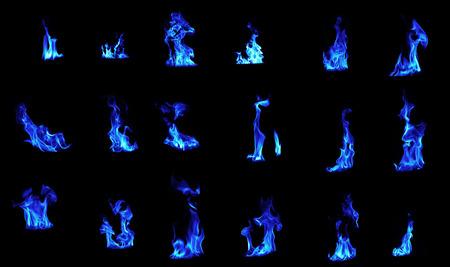 Blue flame compilation on black background