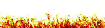 Fire flames on white background, more red version