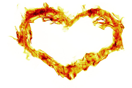 fire heart: fire heart shape on white background Stock Photo