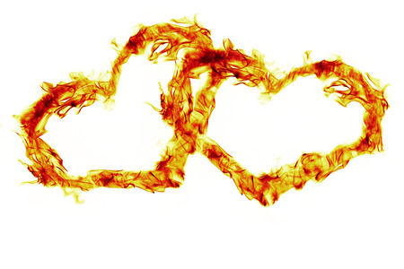 flamboyant: two fire flmaes heart on white background