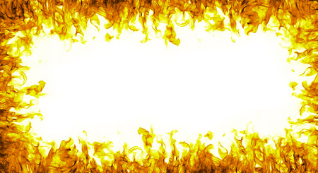 abstract fire frame on white background Stock Photo