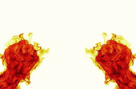 grasp: two fire flames fist ready to fight on white backround Stock Photo