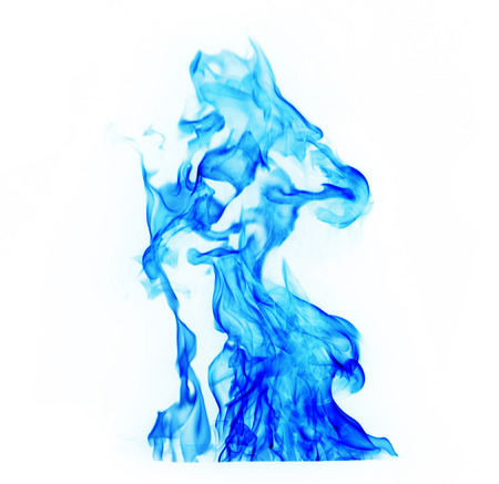blue Fire flames on white background Imagens