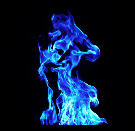 blue Fire flames on black background Imagens - 36535458