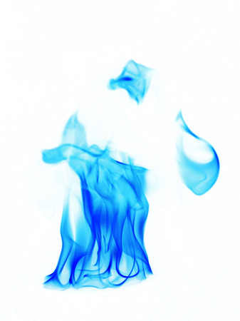 flametongue: blue Fire flames on white background Stock Photo