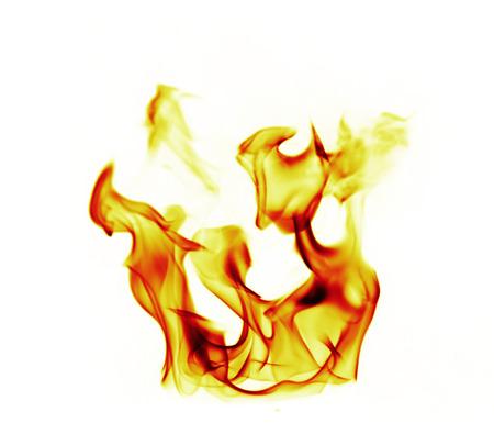 fogatas: Llamas de fuego sobre fondo blanco Foto de archivo
