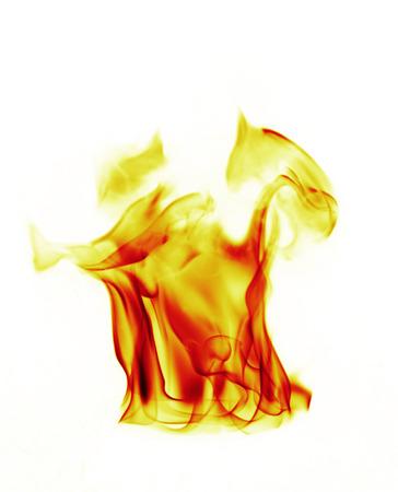 Brandvlammen op witte achtergrond Stockfoto