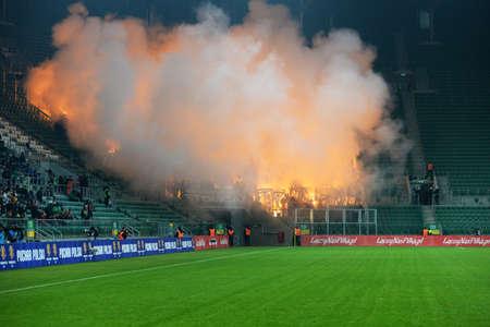 Wroclaw. POLAND - February 12: Puchar Polski between Wks Slask Wroclaw and Legia Warszawa. Fire and Hooligans on action  on  February 12, 2015 in Wroclaw. Poland.