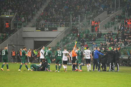 premiership: Wroclaw. POLAND - February 12: Puchar Polski between Wks Slask Wroclaw and Legia Warszawa. yellow card and fight on  February 12, 2015 in Wroclaw. Poland. Stock Photo