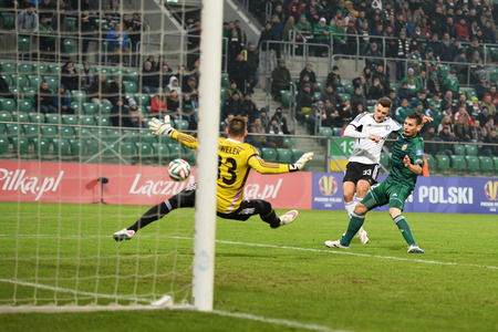 premiership: Wroclaw. POLAND - February 12: Puchar Polski between Wks Slask Wroclaw and Legia Warszawa. Zyro goal on  February 12, 2015 in Wroclaw. Poland. Editorial