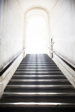 heavens: tunnel Staircase going up to the light