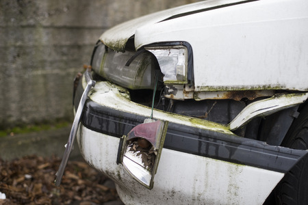 rusty car: rusty car crash collision accident on an city road highway Stock Photo