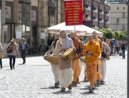 Wroclaw, Poland - 18 2014: members of Hare Krishna chanting and dancing May 18, 2014 on Wroclaw in Poland