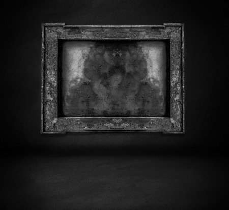 dark  wall with frame and floor interior background