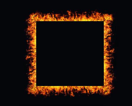 flames: Marco del fuego llamas sobre fondo negro Foto de archivo