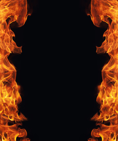 hell fire: burning fire flame frame on black background