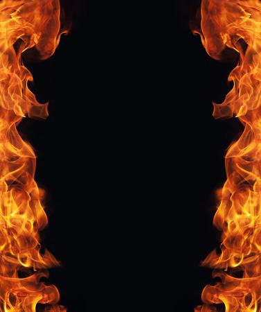 hot frame: burning fire flame frame on black background
