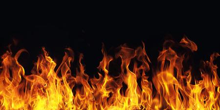 Fiamma che brucia il fuoco su sfondo nero Archivio Fotografico - 38011700