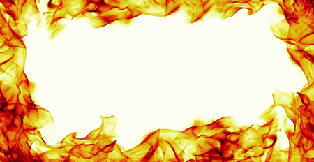 burning fire flame frame on white background