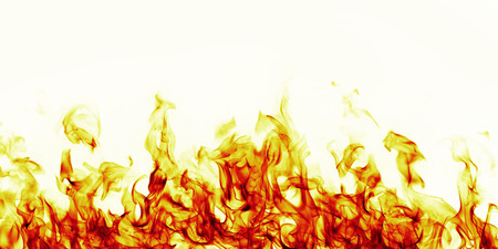 detonation: burning fire flame on white background