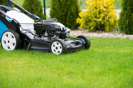 blades: lawn mower in the garden. Stock Photo