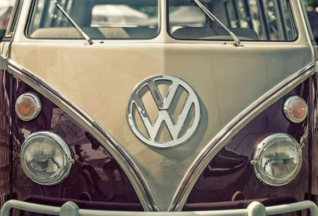 open autocar auto: Sleza, Poland, August 15, 2015: Close up on Volkswagen old vintage car and logo on  Motorclassic show on August 15, 2015 in the Poland