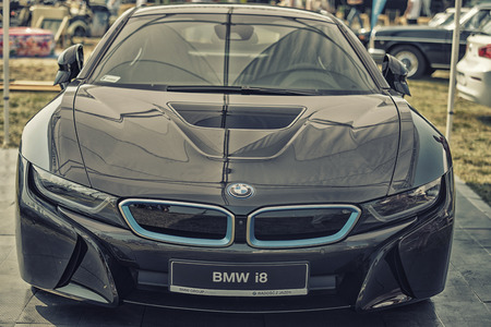 plugin: Sleza, Poland, August 15, 2015: Close up BMW I8 plug-in hybrid sports car on Motorclassic show on August 15, 2015 in the Poland Editorial