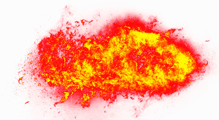 flametongue: fire flame explosion on white background Stock Photo