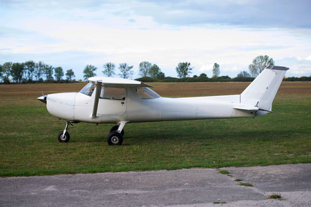 airplane ultralight: small plane on aiport field