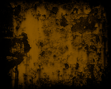 gritty: dark yellow grunge rusty metal wall background or texture
