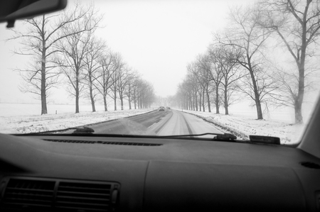 space weather tire: Winter Driving - Winter Road, inside the car, black an white
