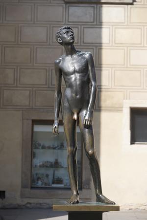 naked statue: Naked Boy Statue at Prague Stock Photo