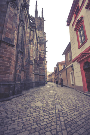 praga: View of the St.Vitus Cathedral in Prague, Czech Republic. vintage effect