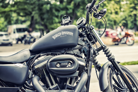 WROCLAW, POLAND June 27, 2015: Detail and logo of Harley - Davidson  during the motorshow in Wroclaw June 27, 2015 Editorial