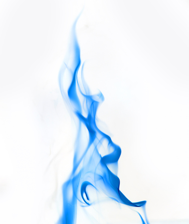flame background: single blue Fire flame on white background