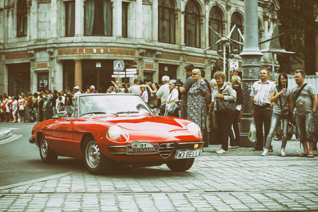 Wroclaw- August 18: Alfa Romeo on Motoclassic show on vintage effect  in Wroclaw, Poland on August 18, 2014.